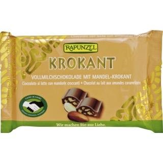 Rapunzel Bio Schokolade Cristallino Vollmilch mit Mandel-Krokant