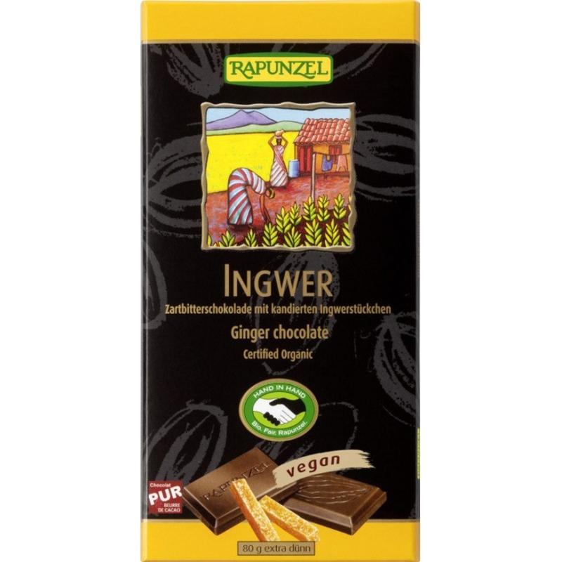 Rapunzel Bio Schokolade 55 Prozent Ingwer Zartbitter HIH