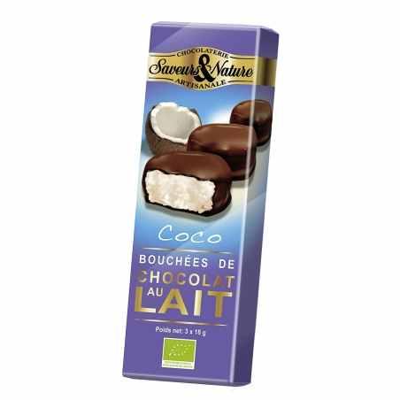 SaveursundNature Bio Kokostaler mit Vollmilchschokolade 3 Stück