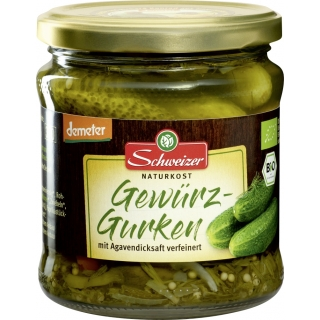 Schweizer Bio Demeter Gewürz-Gurken mit Agavendicksaft